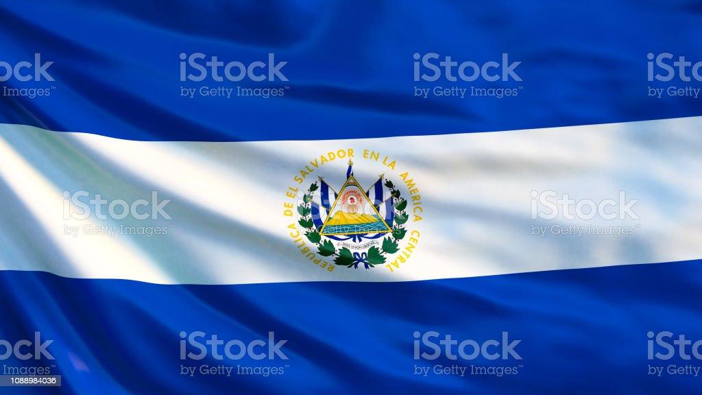 Bandera del Salvador. Bandera del Salvador ilustración 3d. San Salvador - foto de stock