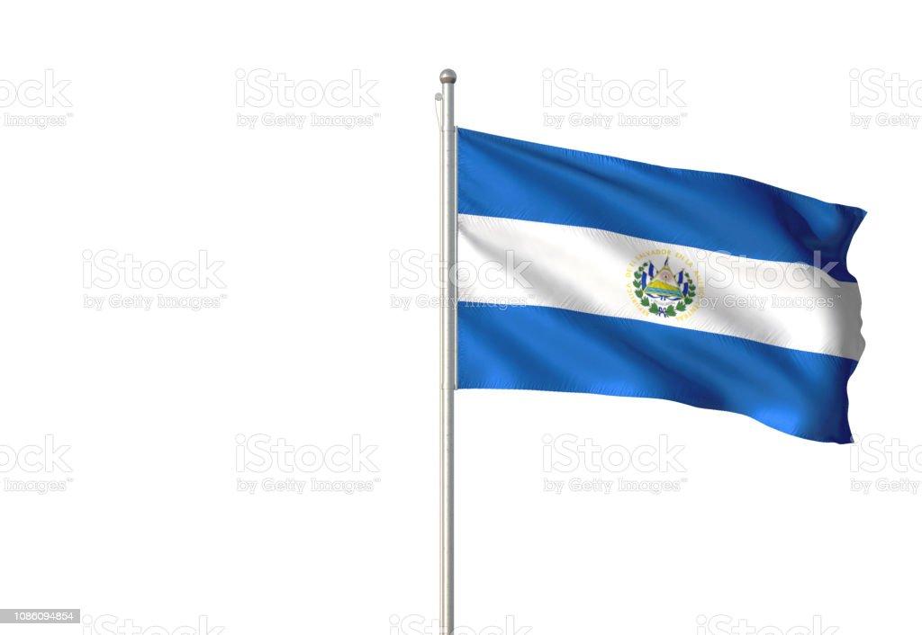 El Salvador bandera que agita aislado sobre fondo blanco - foto de stock