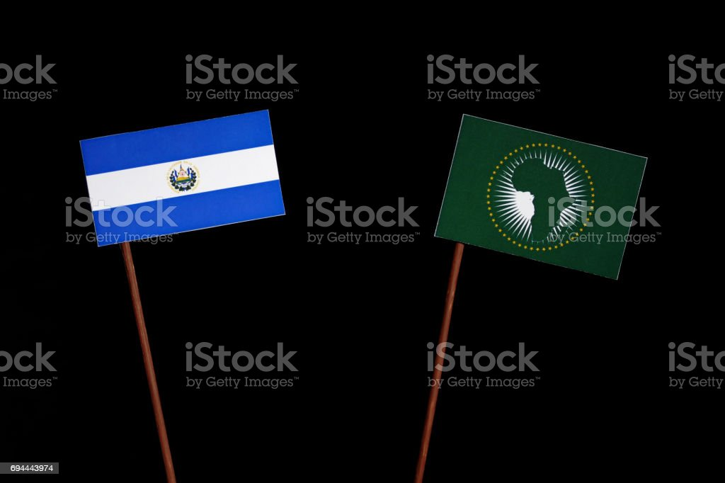 El Salvador flag with African Union flag isolated on black background stock photo