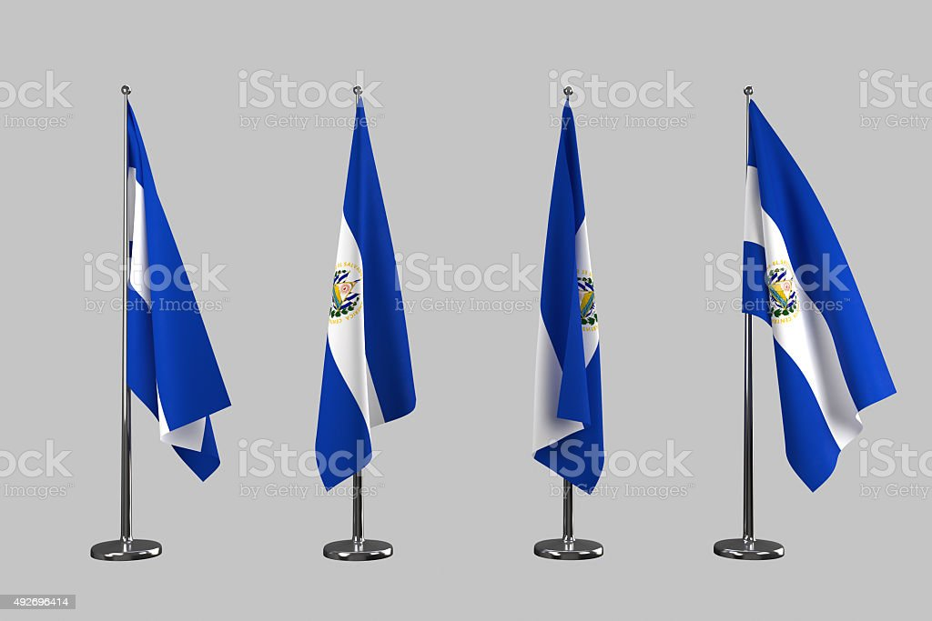 El salvador indoor flags isolate on white background stock photo