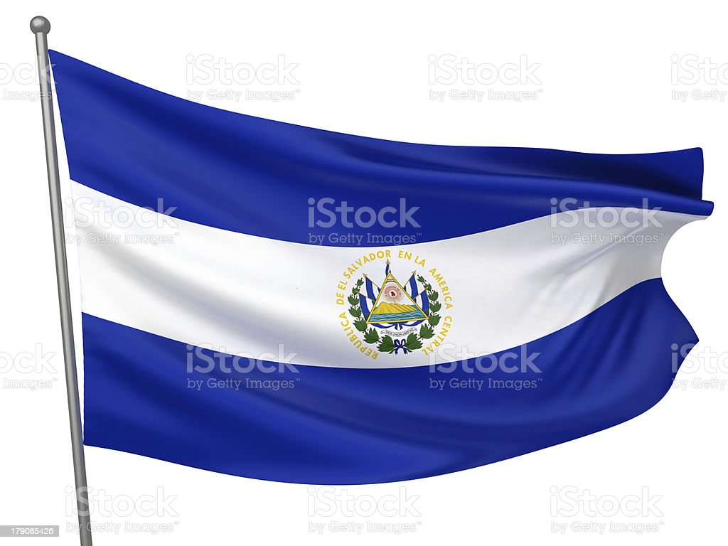 El Salvador National Flag royalty-free stock photo