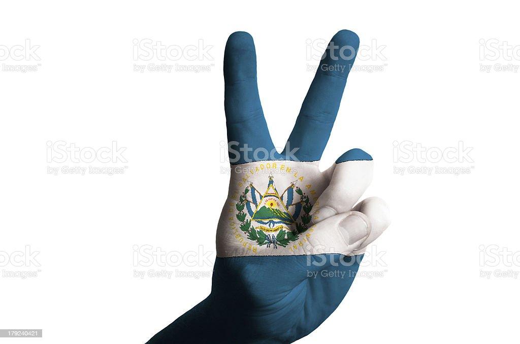 el salvador national flag two finger up gesture for victory stock photo