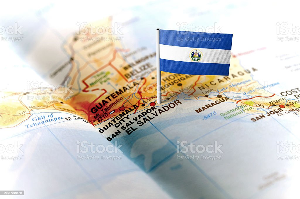 El Salvador pinned on the map with flag stock photo