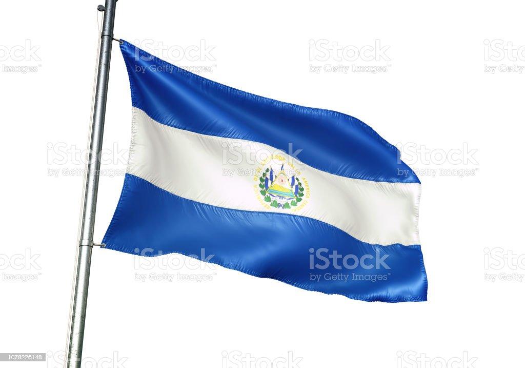 El Salvador, ondeando Bandera Salvadoreña aislada en ilustración 3d realista de fondo blanco - foto de stock