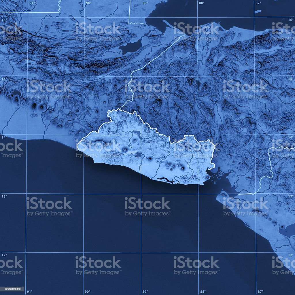 El Salvador Topographic Map royalty-free stock photo