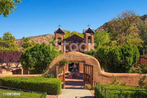 El Santuario De Chimayo historic Church in New Mexico. This Roman Catholic chapel is a National Historic Landmark and a popular pilgrimage site.