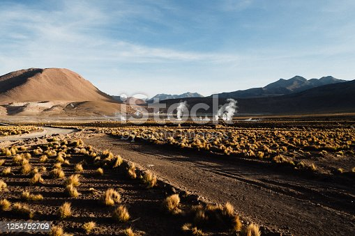 Water vapor (steam) rises from the ground at sunrise in El Tatio geyser field in northern Chile/ Beautiful view of geysers at the sunrise