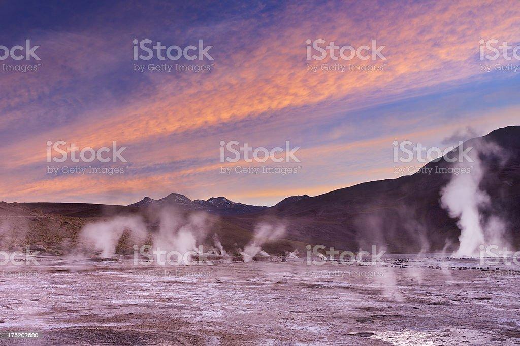 El Tatio Geysers in the Atacama Desert, Chile at sunrise royalty-free stock photo