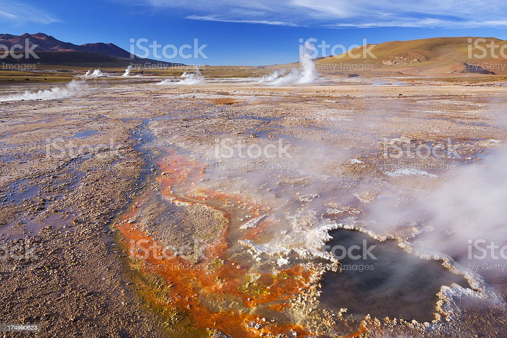 El Tatio Geysers in the Atacama Desert, northern Chile royalty-free stock photo