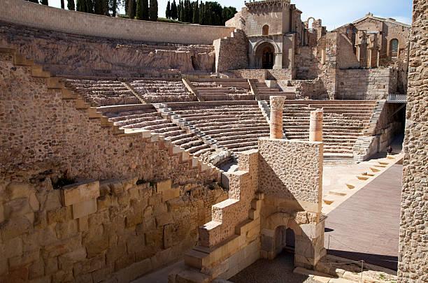 el teatro romano, cartagena, spain - cartagena museum stock photos and pictures