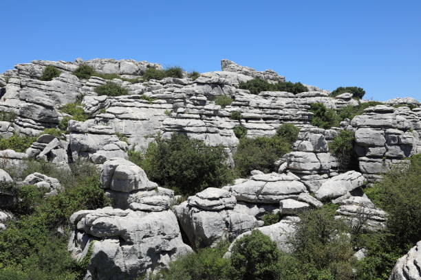 el torcal de antequera - unesco world heritage mountains, spain - pejft stock photos and pictures