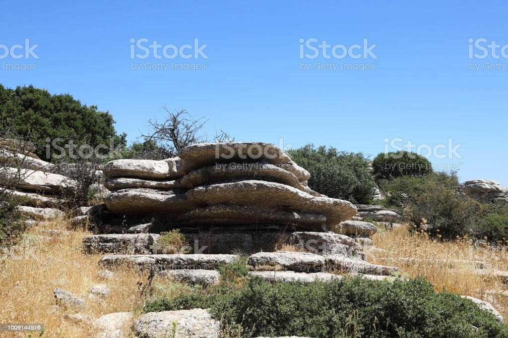 El Torcal de Antequera - UNESCO World Heritage Mountains, Spain stock photo