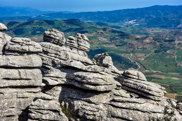 El Torcal National Geological Park Andalusia Spain stock photo