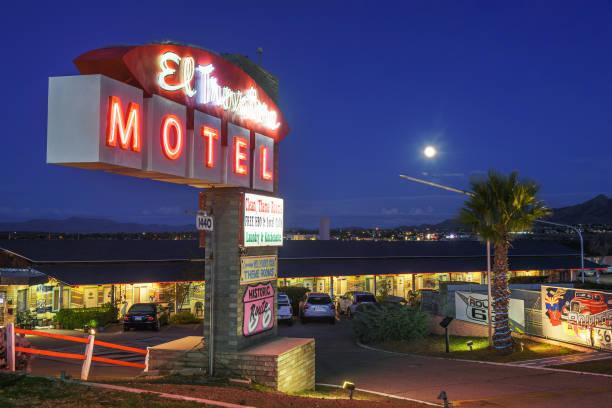 El Trovatore Motel on Route 66 in Kingman, Arizona, at night stock photo
