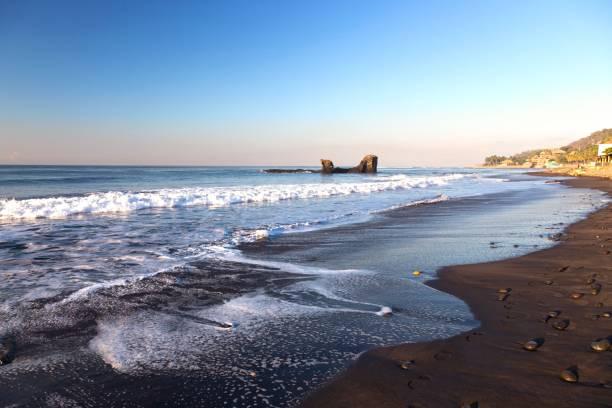 El Tunco Tropical Beach Waterfront in El Salvador, Central America stock photo