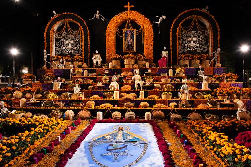 Elaborate Altar in the Zócalo for the Día de los Muertos Festival in Oaxaca, Mexico