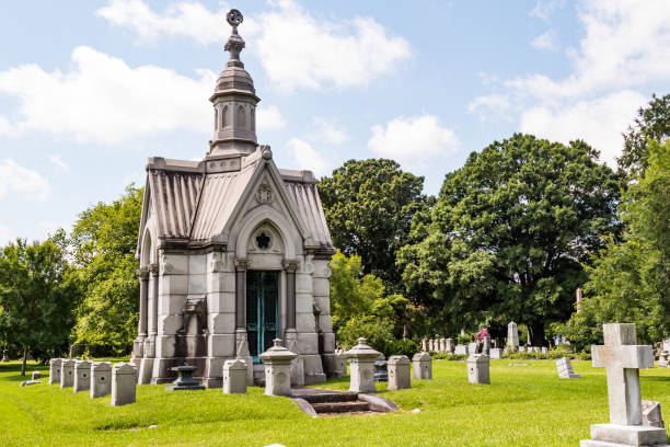 Elaborate Mausoleum in 19th Century Cemetery stock photo