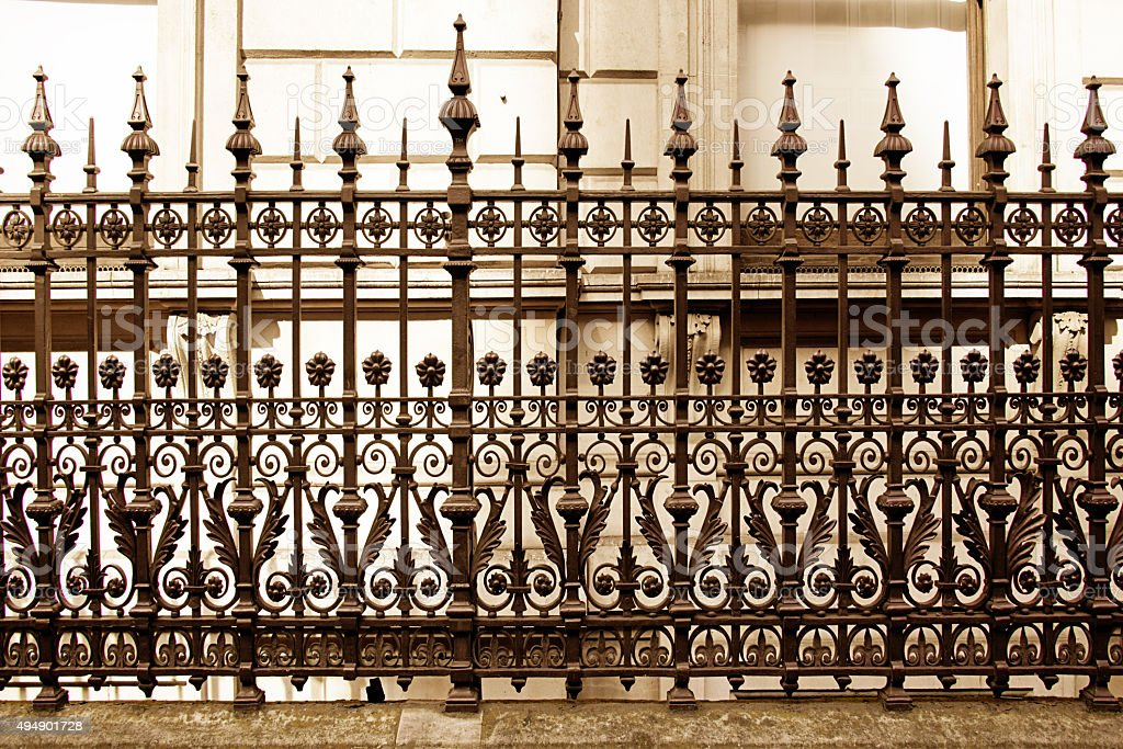 Elaborate Ornamental Wrought Iron Fence And Handcarved Fluted