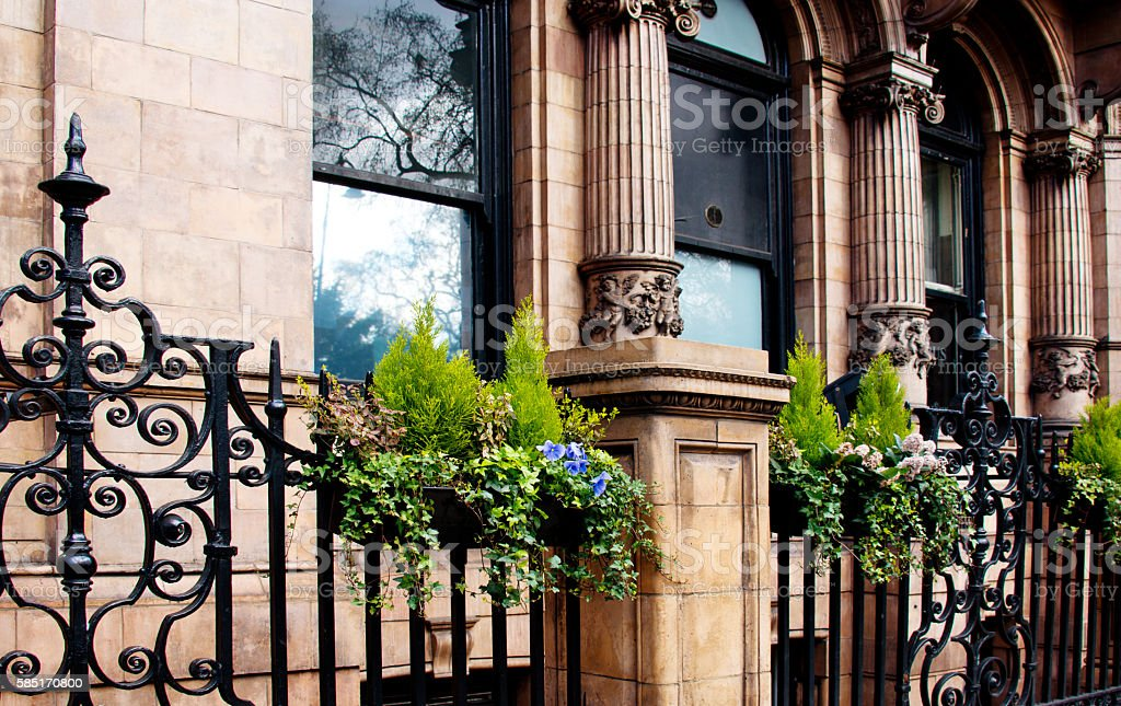 Elaborate Ornamental Wrought Iron Fence, Victorian Architecture, London stock photo