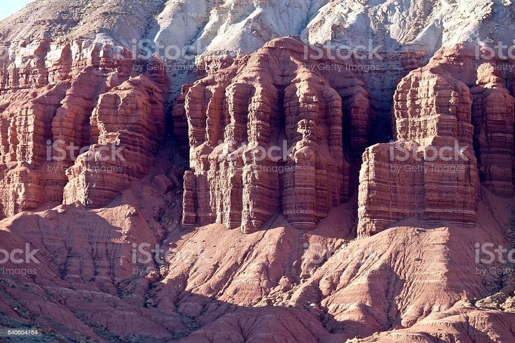 Elaborate Red Rock Formations in Canyon. stock photo