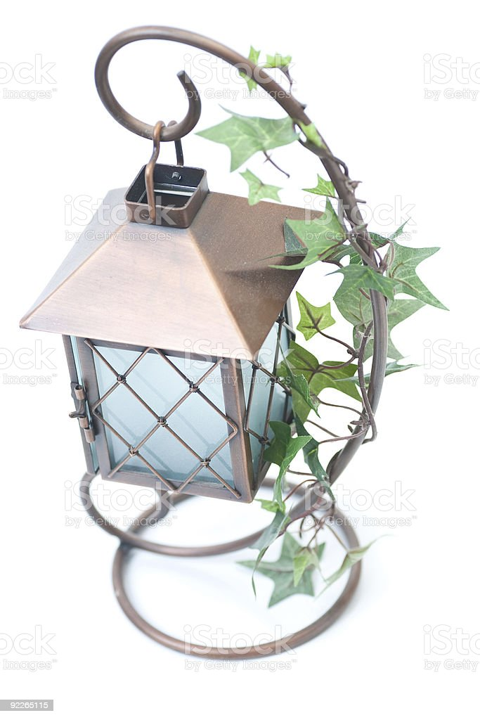 Elaborate tea-light holder with ivy royalty-free stock photo