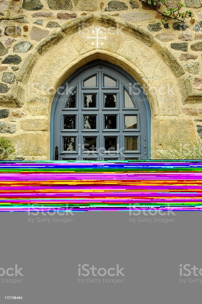 Elaborately Carved Arched Church Doorway stock photo