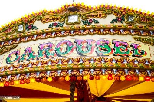 elaborately designed and vivid multi-colored carousel