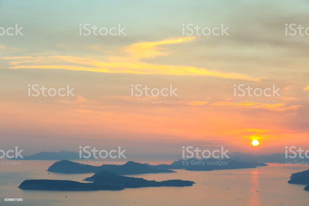 Elafiti islands at sunset stock photo