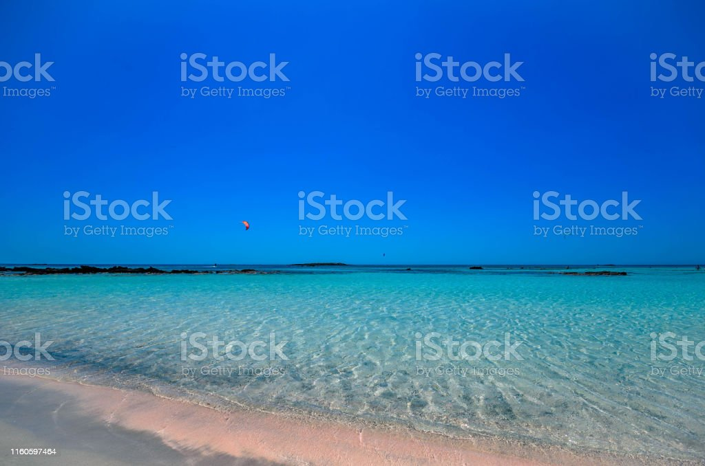 Elafonisi beach, the amazing pink beach of Crete which has been voted...