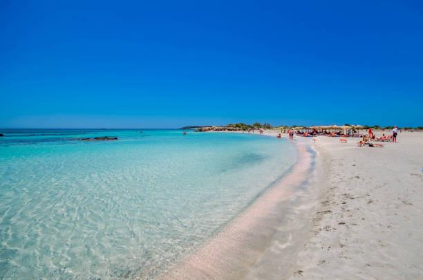 Elafonisi beach, the amazing pink beach of Crete stock photo