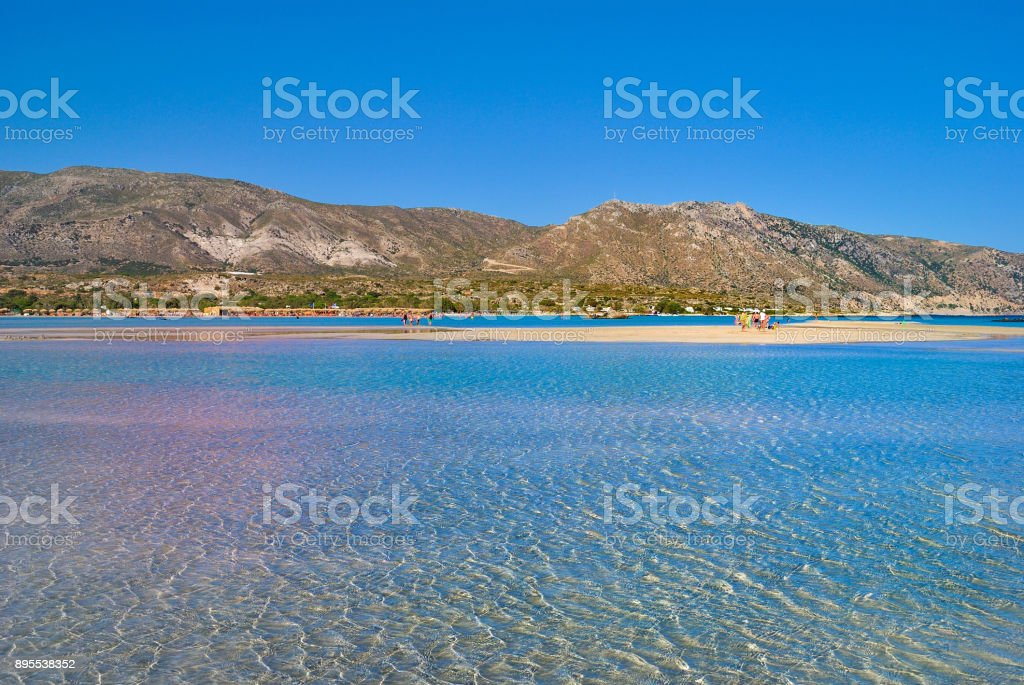 Elafonisi Beach With The Pink Sand In Crete Greece Stock