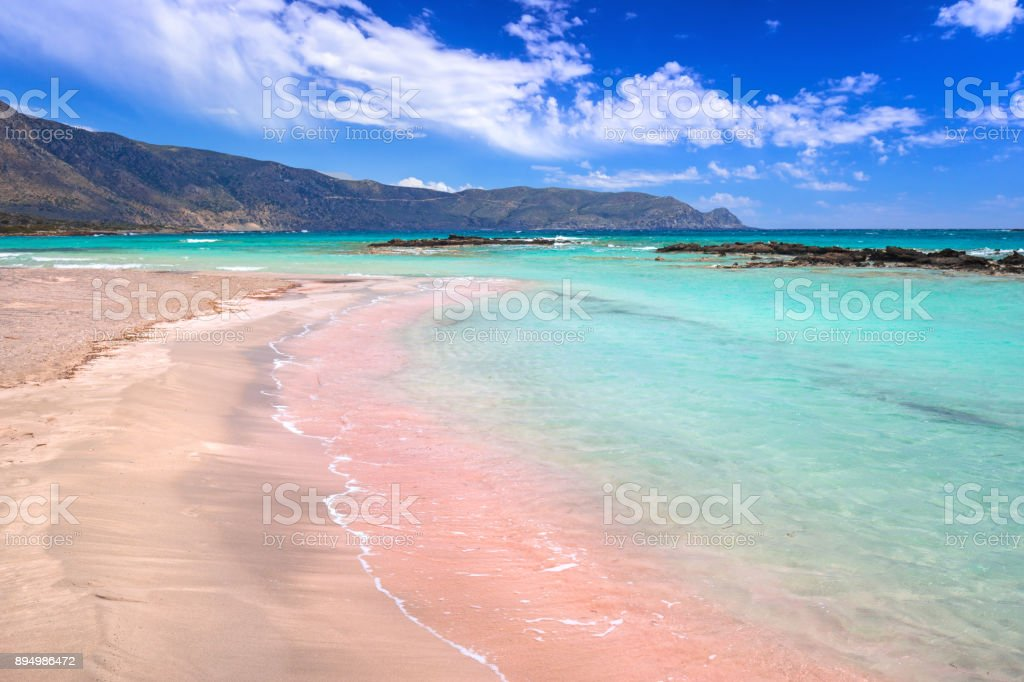 Elafonissi beach with pink sand on Crete stock photo