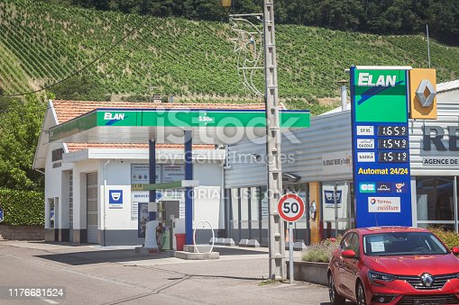 Picture of a sign with the logo of Elan taken on their local gas station in Bourgoin Jallieu, France. Elan, part of Total Fina Elf Group, is a chain of petrol stations in the rural parts of France