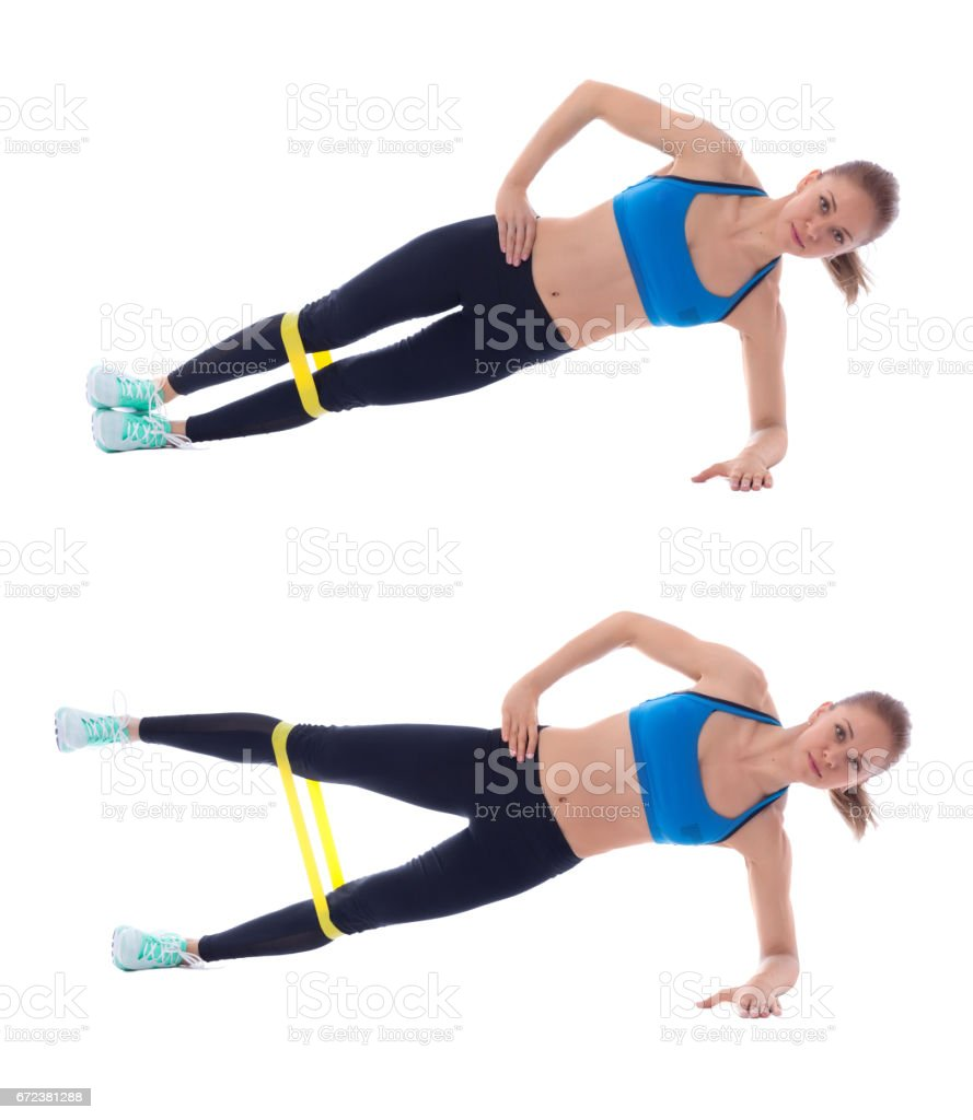 Elastic band side plank stock photo