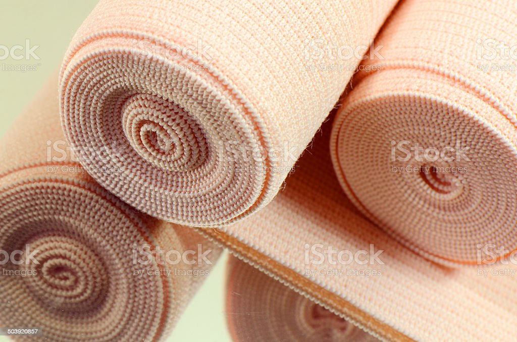 Elastic bandage roll for first aid. stock photo