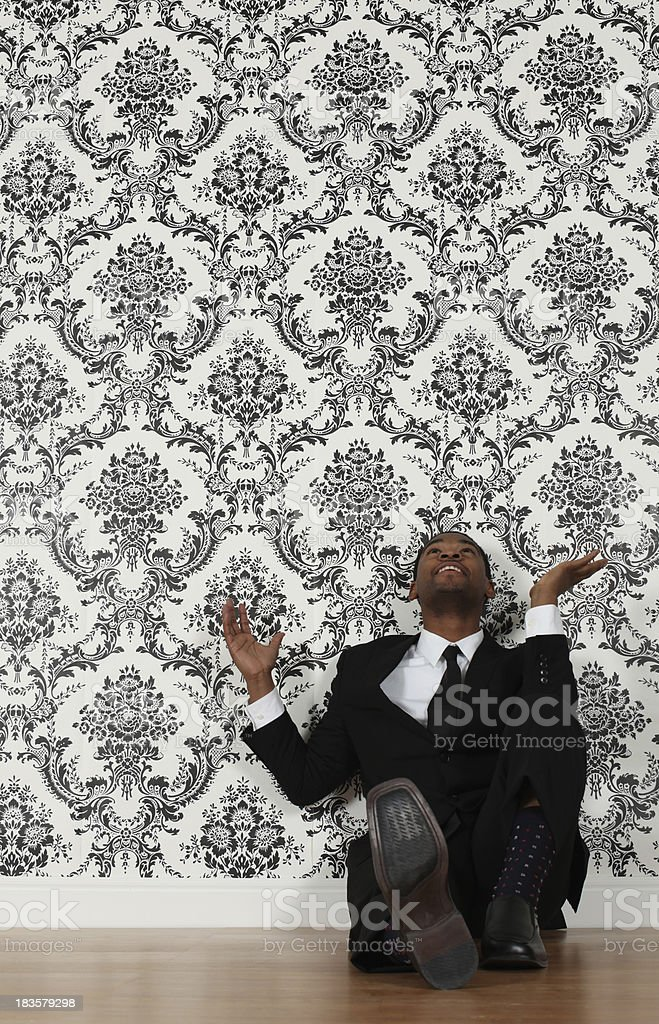 Elated Businessman Looking Up Wallpaper Background Stock Photo Images, Photos, Reviews
