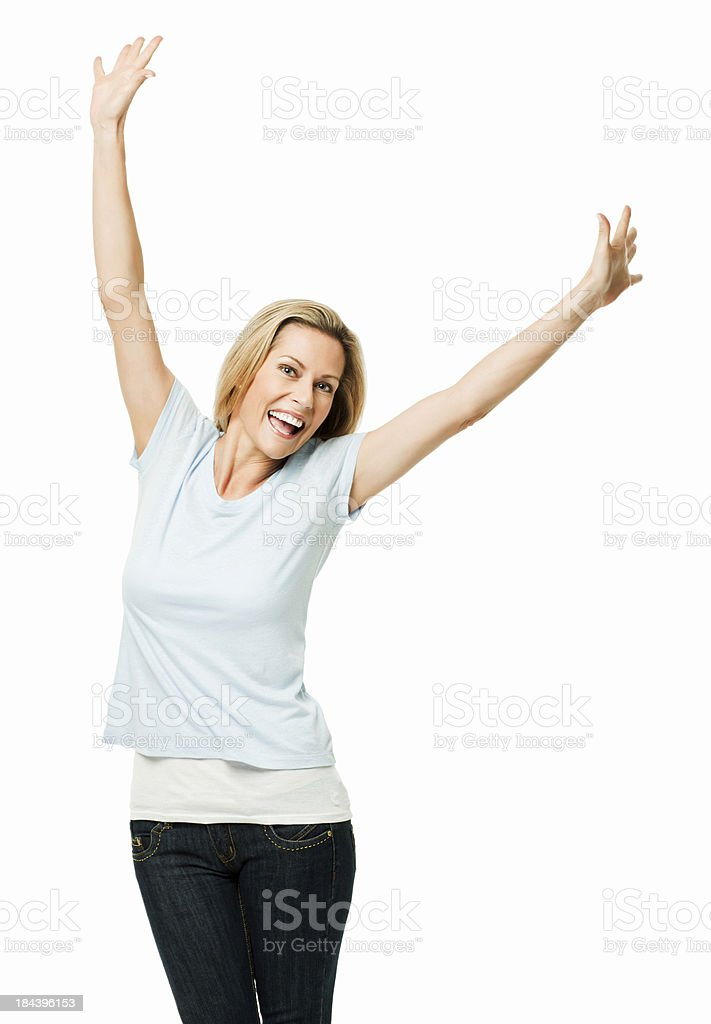 Elated Woman With Raised Arms - Isolated royalty-free stock photo