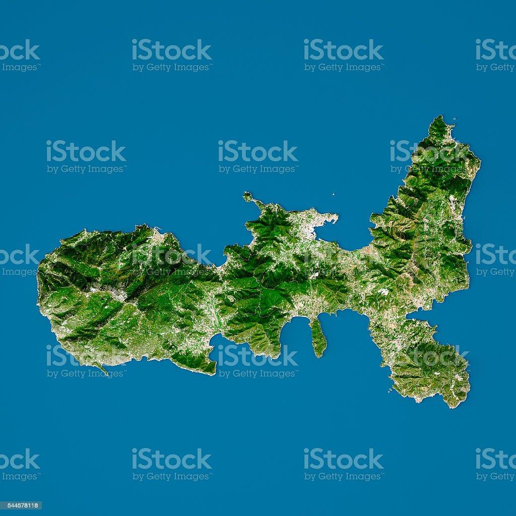 Elba Karte.Elba 3dmodell Topographic Karte Natürliche Farbe Aufsicht Stockfoto