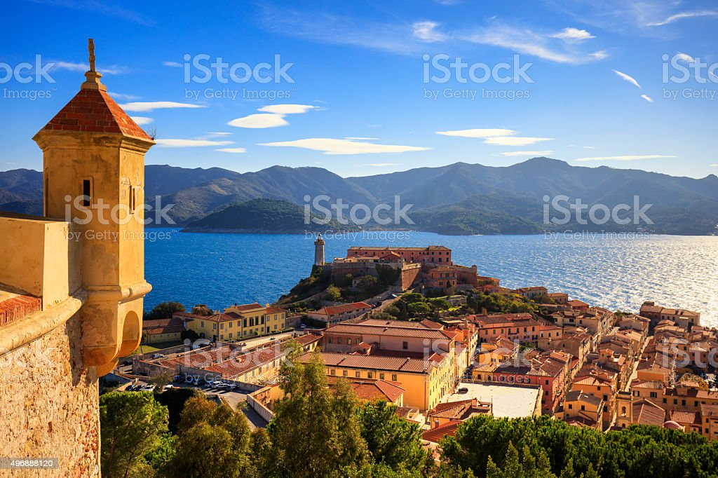 Elba island, Portoferraio aerial view from fort. Lighthouse and stock photo