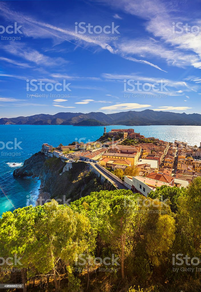 Elba island, Portoferraio aerial view. Lighthouse and fort. Tusc stock photo