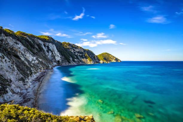 elba island, portoferraio sansone white beach coast. tuscany, it - golf sommar skugga bildbanksfoton och bilder