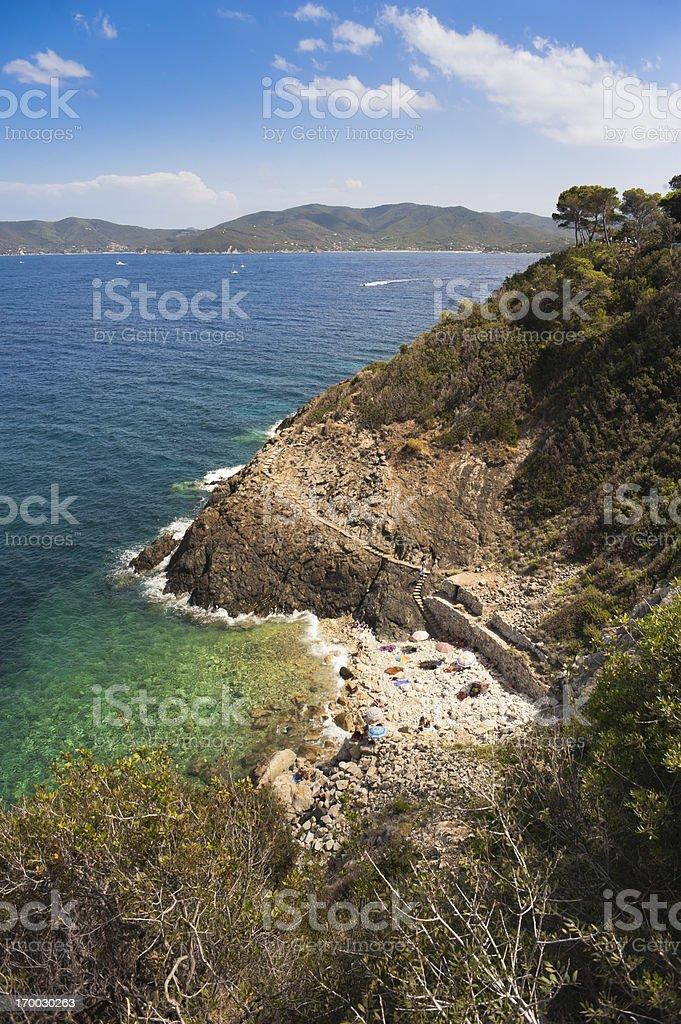 Elba Island, small beach royalty-free stock photo