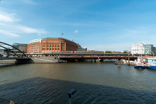 Elbe channel in the district of old granaries in Hamburg