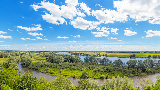 Elbe panorama, UNESCO biosphere reserve river landscape Elbe, Boizenburg, Germany.