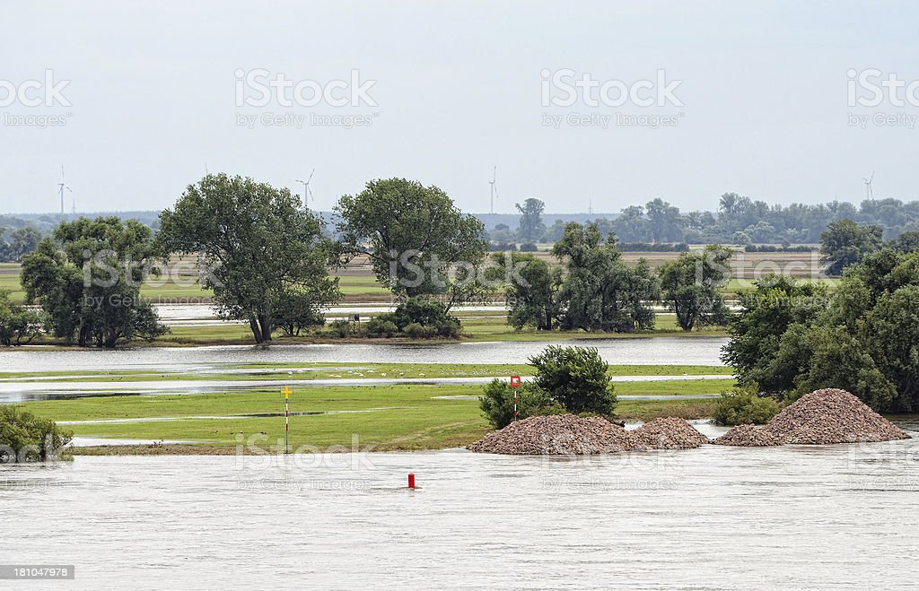 Elbe River dyke near Fischbeck of great flood 2013 royalty-free stock photo