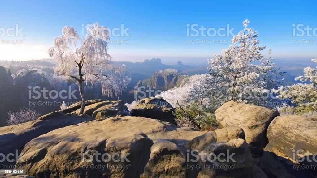 Elbe sandstone mountains in winter, Carolarock stock photo
