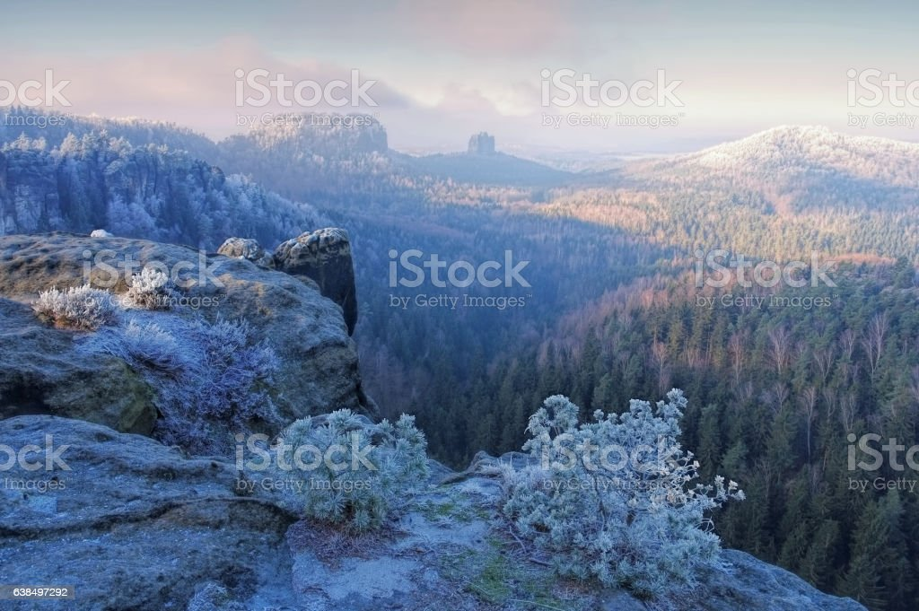 Elbe sandstone mountains in winter viewpoint Domerker stock photo