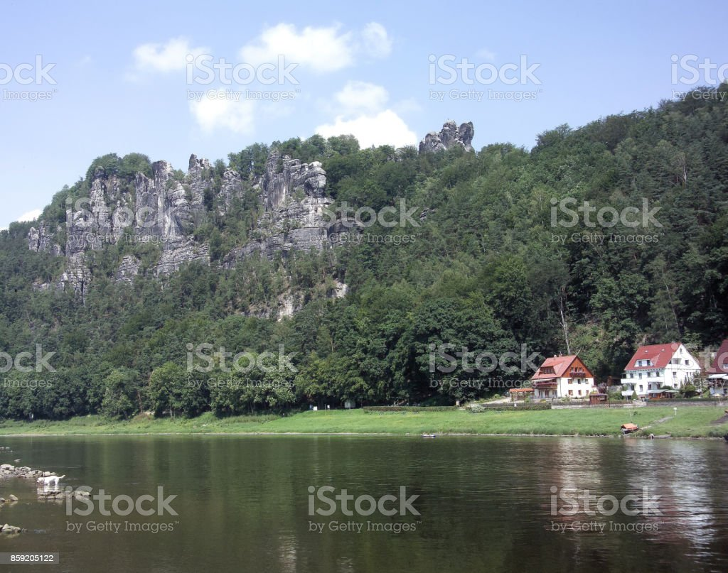 Elbe Valley and Steep Rocks, Saxon Switzerland, Germany stock photo