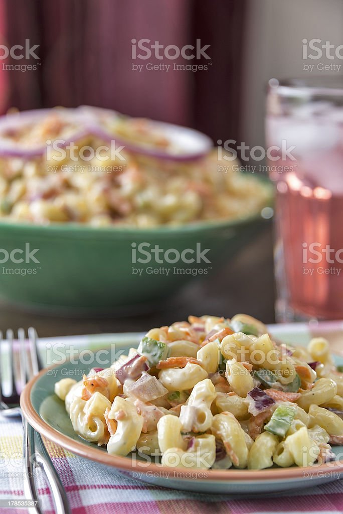 Elbow macaroni salad with lemonade royalty-free stock photo