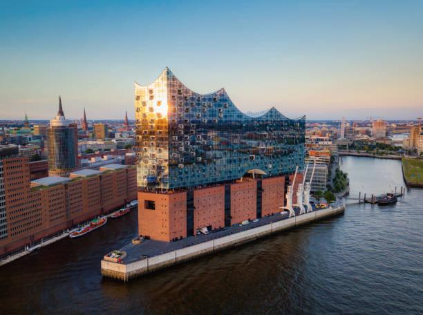 Elbphilharmoni Sunset Hamburg Germany stock photo